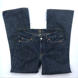 7 for all mandkind dark wash flare cropped jeans